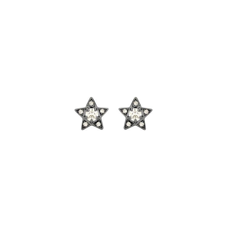 Brinco-Estrela-Mini-em-ouro-branco-18k-com-banho-de-rodio-negro-e-diamantes-light-light-brown-±-035ct