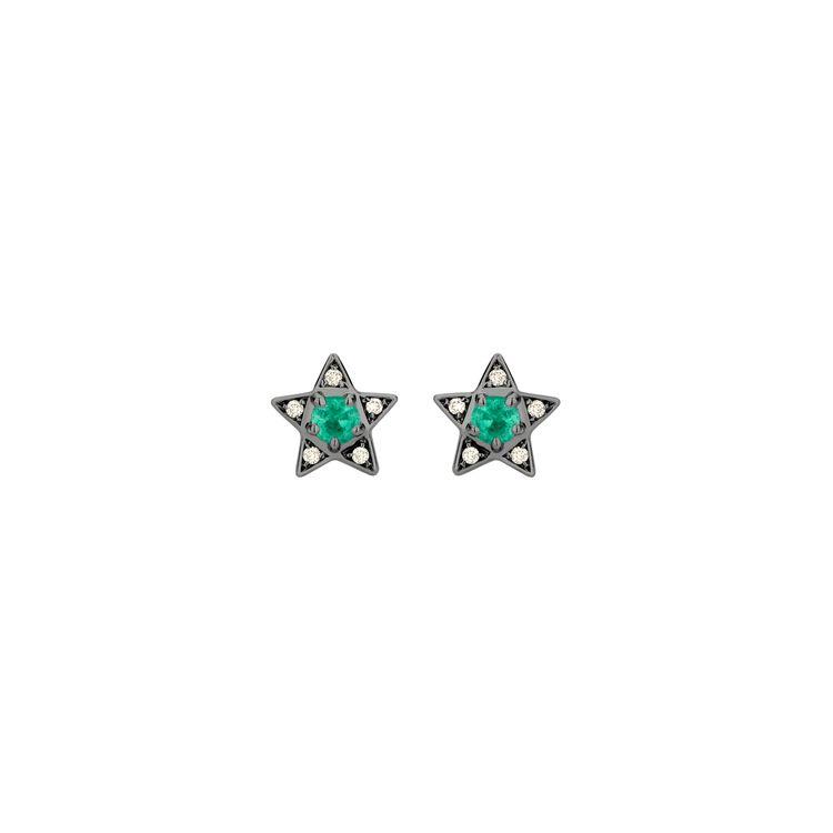 Brinco-Estrela-Mini-em-ouro-branco-18k-com-banho-de-rodio-negro--diamantes-light-light-brown-±008ct-e-esmeralda-±029ct