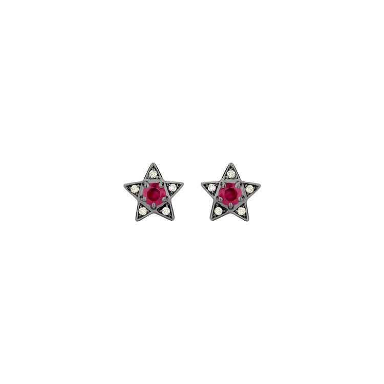 Brinco-Estrela-Mini-em-ouro-branco-18k-com-banho-de-rodio-negro--diamantes-light-light-brown-±008ct-e-rubi-±036ct