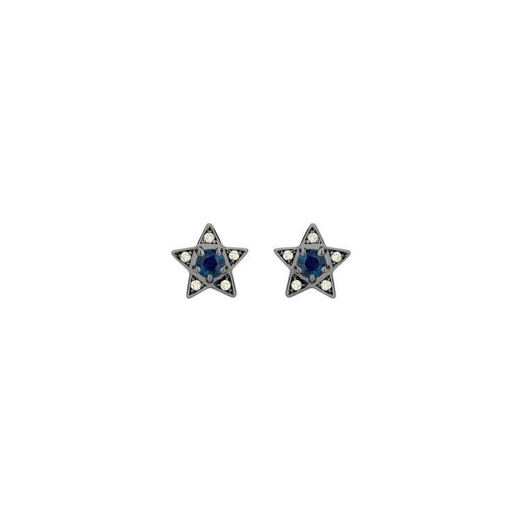 Brinco-Estrela-Mini-em-ouro-branco-18k-com-banho-de-rodio-negro-diamantes-light-light-brown-±008ct-e-safira-azul-±038ct.