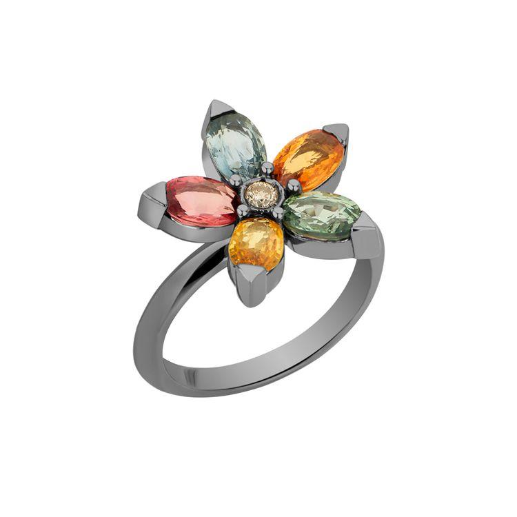 Anel-Estrela-em-ouro-branco-18k-com-banho-de-rodio-negro--safiras-multicoloridas-±-300-ct-e-diamante-light-light-brown-±-005-ct.