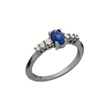 Anel-Rock-Star-M-em-ouro-branco-18k-com-banho-de-rodio-negro-diamantes-light-light-brown-±019ct-e-safira-azul-±064ct.