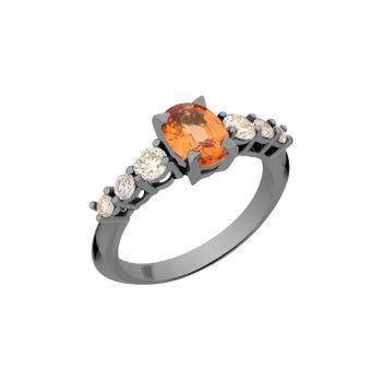 Anel-Rock-Star-G-em-ouro-branco-18k-com-banho-de-rodio-negro-diamants-light-light-brown-±062ct-e-safira-laranja-±159ct.