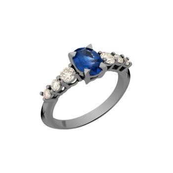 Anel-Rock-Star-G-em-ouro-branco-18k-com-banho-de-rodio-negro-safira-azul-±-137ct-e-diamantes-light-light-brown-±-061ct.-